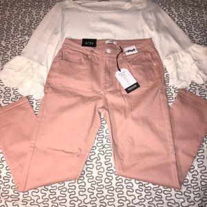 Kensie Skinny Crop High Rise Dusty Pink Jeans